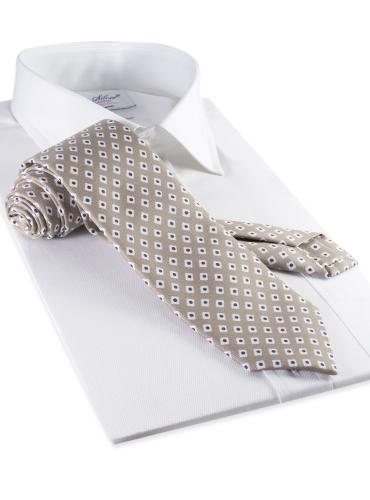 Silk Diamond Motif Tie in Sand