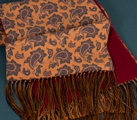Silk Paisley Printed Scarf in Copper with Cranberry Cashmere Reverse