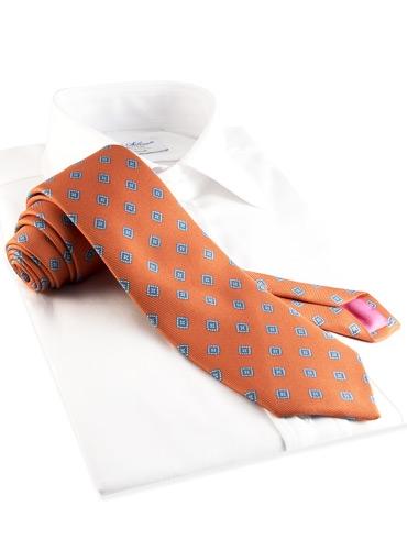 Silk Print Diamond Tie in Orange