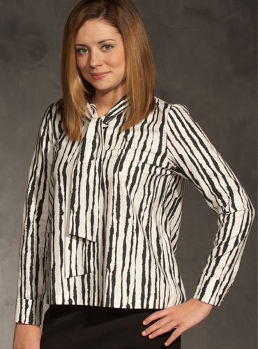 Ladies Zebra Tie Neck Blouse