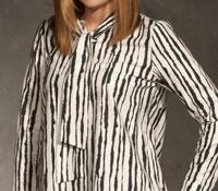 Ladies Zebra Tie Neck Blouse