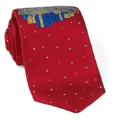 Woven Christmas Tree Tie New Red