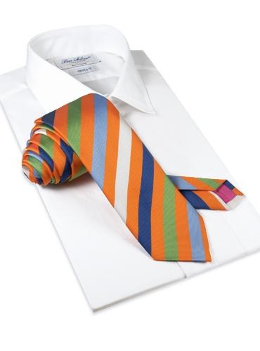 Silk Multi-Striped Tie in Orange