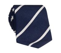 Silk Bar Striped Tie in Navy Blue with White