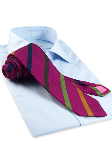 Silk and Cotton Woven Multi Bar Stripe Tie in Fuchsia