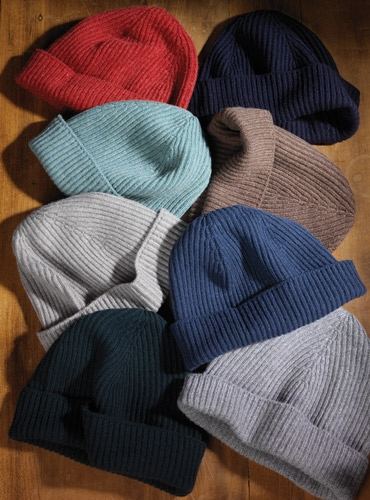 Ribbed Cashmere Turn Up Hat