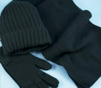 Cashmere Ribbed Scarf, Cap and Gloves in Bottle