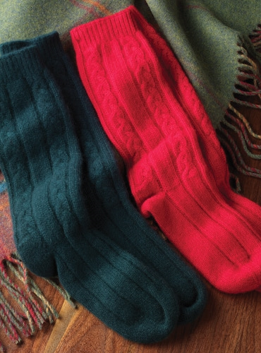 Cashmere Cable Knit Bed Socks