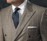Peat and Pearl Glen Plaid Double Breasted Suit in Super 130s Wool