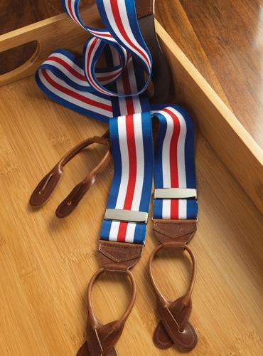 Royal, White & Red Striped Braces
