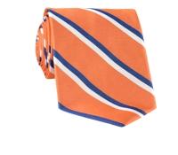 Woven Double Stripe Tie in Tangerine