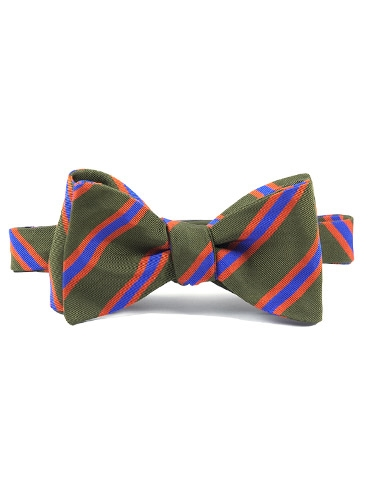 Silk and Cotton Woven Dual Stripe Bow in Field