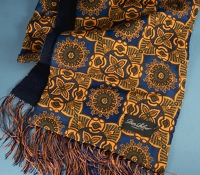 Silk Medallion Scarf in Royal Blue and Gold
