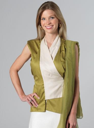 Marie Meunier Sleeveless Tango Blouse in Green and White