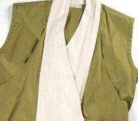 Marie Meunier Sleeveless Tango Blouse in Green and White