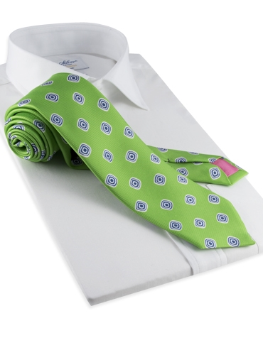 Silk Print Spiral Tie in Lime
