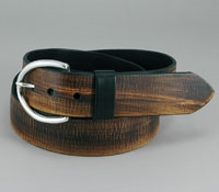 Brown Leather Belt with Nickle Buckle