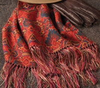 Silk and Wool Aztec Print Scarf in Red
