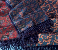 Silk Paisley Print Scarf with Solid Cashmere Reverse