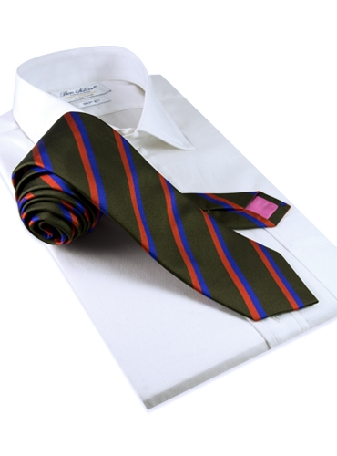 Silk Multi-Color Double Stripe Tie in Fern