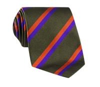 Silk Multi-Color Double Stripe Tie in Fern