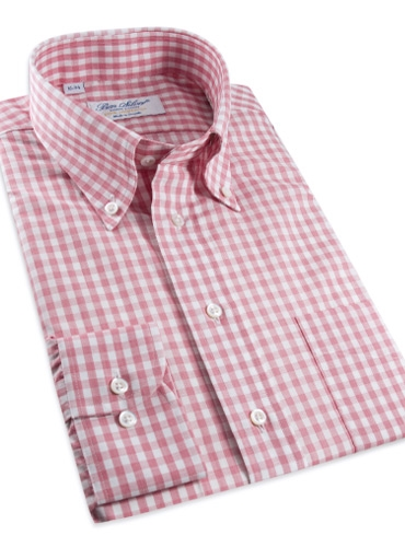 Pink and White Gingham Button Down in Linen and Cotton