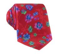 Silk Floral Print Tie in Ruby
