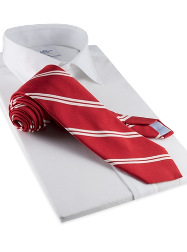 Mogador Silk Double Bar Stripe Tie in Red