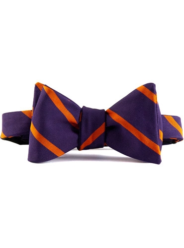 Mogador Silk Bar Stripe Bow in Purple with Orange