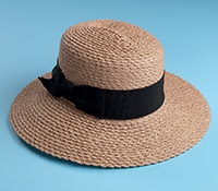 Ladies Scallop Brim Raffia Braid Hat