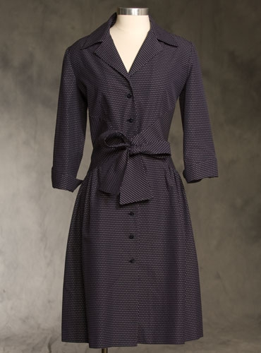 Shirtwaist Dress in Navy Pin Dot
