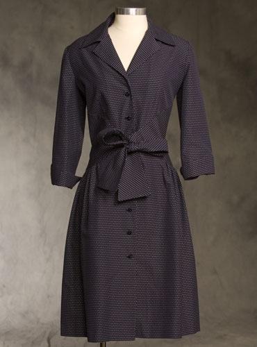 Shirtwaist Dress in Navy Pin Dot