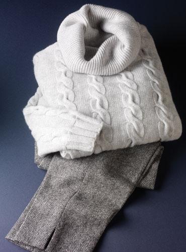 Ladies Grey and White Herringbone Tweed Trousers