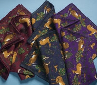 Wool and Silk Deer Print Pocket Squares