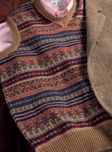 Lambswool Fair Isle Sweater Vest in Sable