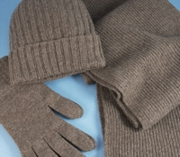 Cashmere Ribbed Scarf, Cap and Gloves in Mocha