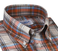 Brown, Brick Red and Pacific Blue Plaid Cotton Button Down