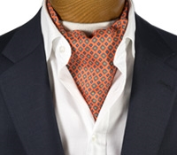 Silk Print Ascot with Diamond and Flower Motif in Orange