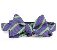 Silk Cotton Woven Stripe Bow Purple/Lime