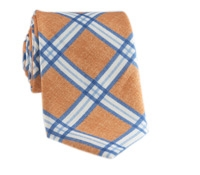 Linen Print Plaid Tie in Peach