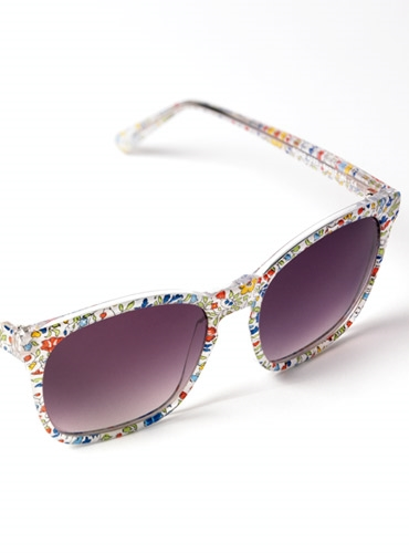 Liberty Sunglasses in White, Green, Red, and Blue Small Floral Print