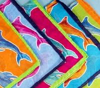 Cotton and Silk Dolphin Print Pocket Square