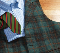 Sage and Rifle Plaid Harris Tweed Waistcoat with Oak Windowpane