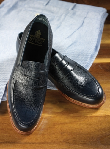 The Harvard Loafer in Navy Pebble Grain