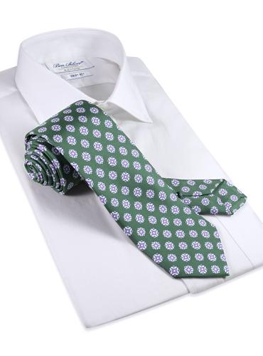 Silk Medallion Printed Tie in Sage