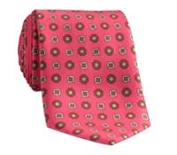 Silk Neat Motif Tie in Strawberry