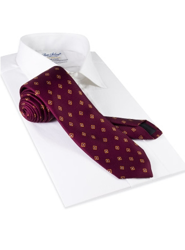Silk Diamond Print Tie in Magenta