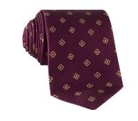 Silk Diamond Print Tie in Magenta