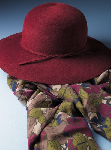 Ladies Wide Brimmed Fur Felt Hat in Chianti