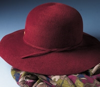 Ladies Wide Brimmed Fur Felt Hat in Chianti